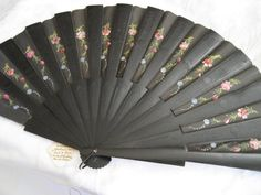 ANTIQUE Phillipines Hand Painted  Fabric Hand Fan by abandc, $85.00