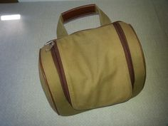 Brown fabric travel toiletries bag with zipper, compartments and mesh #Unknown