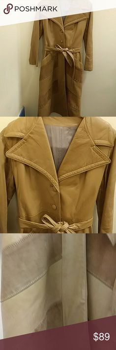 """🌠Host Pick🌠 Mustard yellow leather coat jacket The Jacket has No Name or size. It Fits like a Medium.  One damage spot under the caller which is showen in the picture. Cropped sleeves. Pit to pit 15"""" sholder to hem 42"""" arm length 21 1/2 Vintage Jackets & Coats Trench Coats"""