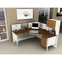 Like the white and wood combo Corner Workstation, Corner Desk, Workspace Inspiration, Home Decor Inspiration, State Farm Office, Wholesale Office Supplies, Office Space Decor, Classroom Decor, Home Office