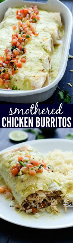 Flavor packed burritos loaded with shredded chicken, beans and rice. The creamy salsa verde dressing over the top makes these extra delicious!