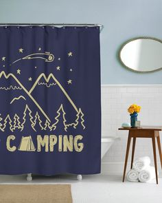 I Love Camping Shower Curtain | CrazyDog T-shirts