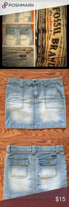 Fossil Brand Mini Jean Skirt Fossil Brand Jean Skirt. Size 4. Light wash. Mini skirt. Pre-owned in great condition with no known tears snags or stains. Comes from smoke free and clean home. Please feel free to ask any questions. Thanks!! Fossil Skirts Mini
