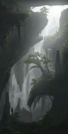 Fantasy Concept Art, Fantasy Artwork, Fantasy Places, Fantasy World, Landscape Concept, Landscape Art, Valley Landscape, Landscape Wallpaper, Fantasy Art Landscapes