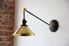 Black and Brass Gold Articulating Boom Wall by IlluminateVintage