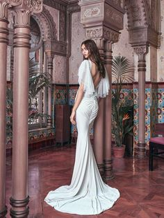 Galia Lahav 2018 Victorian Affinity VELVET A skin tight double velvet mermaid gown with a plunging V neckline and a low back rouching at the behind. The gown has point d'esprit butterfly caped sleeves, and bows adorning the shoulders and waistline. Bridal Collection, Dress Collection, Bridal Dresses, Wedding Gowns, Top Wedding Dress Designers, Second Hand Wedding Dresses, Bridal Reflections, Dress Alterations, Mermaid Gown