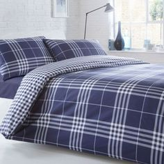 Double Size Blue And Grey Checked Bedding Set 125 For The Home Pinterest