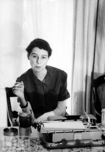 Carson McCullers writing (and smoking).