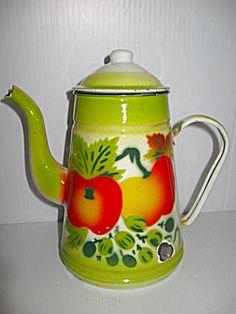Vtg. Enamelware Tea/Coffee Pot - I have 2 huge bowls that match this. If I ever find one. :)