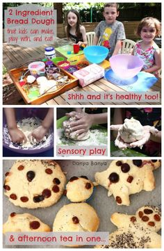 Two ingredient bread dough - that kids can make, play with, bake and eat! And it's healthy too. Great for sensory play. ~ Danya Banya