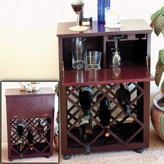 Store your vintage wines with a Cherry stained hardwood Rolling Wine Cart #wine #getorganized