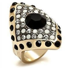 Art Deco Geometric Ring Gold Crystal Black Cocktail  SZ 10 #FashionRightHand