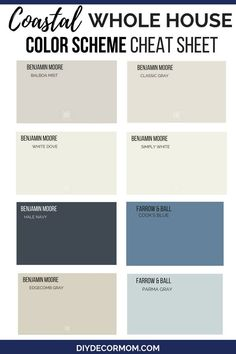Looking for a foolproof whole house color scheme and color palette? This relaxing coastal decor color scheme is relaxing airy and neutral perfect for your home! These neutral paint colors are perfect for open concept homes including the best gray paints Coastal Paint Colors, Paint Colors For Living Room, Paint Colors For Home, Coastal Decor, House Colors, Paint Colours, Best Dining Room Colors, Cream Paint Colors, Best Neutral Paint Colors
