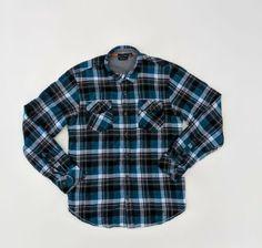 Rocawear Big /& Tall  Mens Textured Blue /& Black Plaid Button Down shortsleeve