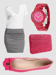 6pm    Class Picture Perfect    #gabriellarocha #skirt #stripes