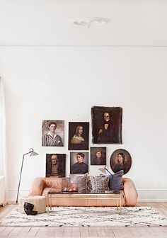how to mix art.  I mainly just love this quirky wall of portraits.