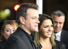 """Actor Matt Damon and Luciana Barroso attend the premiere of Warner Bros. Pictures' """"Live By Night"""" at TCL Chinese Theatre on January 9, 2017 in Hollywood, California."""