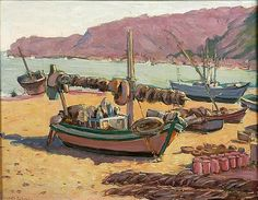 """Nazaré, Portugal: Beached Boat,"" Irving Manoir, ca. 1940, oil on canvas, 19 x 24"", private collection."