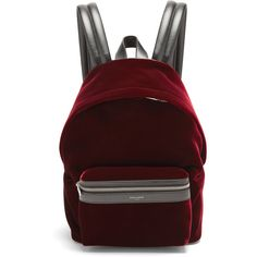 Saint Laurent City velvet backpack ($1,450) ❤ liked on Polyvore featuring bags, backpacks, burgundy, day pack backpack, burgundy bag, red backpack, backpack bags and rucksack bags