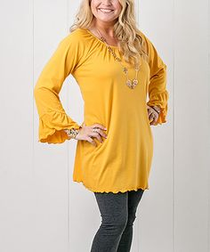 Another great find on #zulily! Yellow Ruffle Tunic - Women & Plus #zulilyfinds