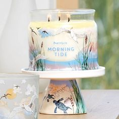 Express a seashore style with our Morning Tide Pedestal Jar Holder. This ceramic pedestal features Morning Tide decal artwork. Match with the Morning Tide Tealight Holder Pair. Use with any Jar Candle in your favorite fragrance, sold separately. 6 cm h. Images Of Morning, Candle Jars, Candle Holders, Pots, Partylite, Business Inspiration, Coastal Homes, Tea Light Holder, Holiday Fun