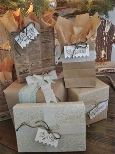 Christmas packages made from newspaper & brown paper bags