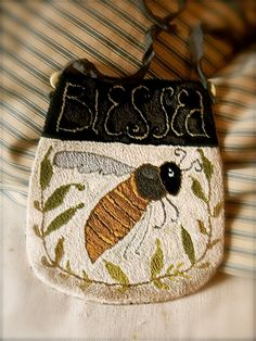 ≗ The Bee's Reverie ≗ 'Blessed BEE' ©Notforgotten Farm -embroidered change purse
