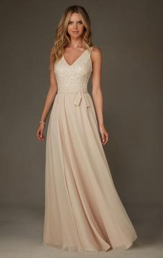 1f5f071872a53 Angelina Faccenda Bridesmaids by Mori Lee 20472 Long Chiffon with Beading Bridesmaid  Dress with VNeck and VBack Designed by Madeline Gardner.