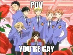 Ouran Highschool Host Club, Ouran Host Club, High School Host Club, Got Anime, Anime Guys, Fb Memes, Funny Memes, Emo, Funny Anime Pics