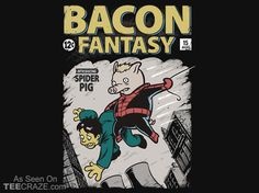 Bacon Fantasy #15 T-Shirt - http://teecraze.com/bacon-fantasy-15-t-shirt/ -  Designed by Nathan Davis    #tshirt #tee #art #fashion #clothing #apparel