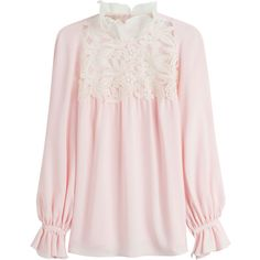 Giambattista Valli Silk Blouse (7.110 RON) ❤ liked on Polyvore featuring tops, blouses, rose, rose blouse, giambattista valli, silk blouses, high neck blouse and slimming tops