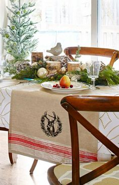 Woodsy table setting for Thanksgiving or Christmas. Here's how: http://www.midwestliving.com/holidays/christmas/6-ways-to-craft-a-merry-little-christmas/?page=2