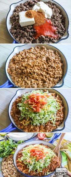 Cheesy Taco Skillet - Easy dinner recipe for the busiest night! If you have a package of ground beef then this will keep everyone smiling at dinner time. It is super delicious, plus also a gluten free and low carb dinner idea perfect for the keto diet! Mexican Food Recipes, Diet Recipes, Cooking Recipes, Healthy Recipes, Recipies, Ground Beef Recipes For Dinner, Easy Dinner Recipes, Ground Beef Meals Healthy, Ground Beef Keto Recipes