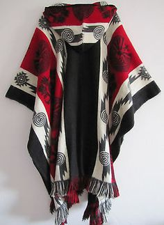 Llama Wool Man Cape Poncho red Hood Men Coat Jacket Mens - Handmade in Ecuador
