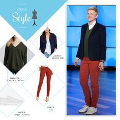 Ellen's Look of the Day: navy blazer, green v neck sweater, red corduroys, white shoes