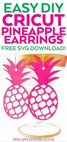Cricut Pineapple Earrings - Free Earring SVG - Pineapple Paper Co. Diy Leather Earrings, Diy Earrings, Pineapple Earrings, Monogram Earrings, Pink Crafts, Diy Monogram, Craft Stash, Cricut Tutorials, Cricut Ideas
