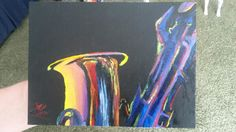 Saxophone. Artwork. Acrylic Paint