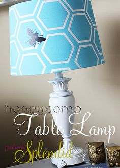 Painted honeycomb lampshade using contact paper stencil created with a Silhouette.