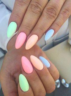 27 easy to copy pastel rainbow nails (get .- 27 easy to copy pastel rainbow nails (get these colors) – nail art – - Pastel Nail Polish, Best Acrylic Nails, Acrylic Summer Nails Almond, Nail Designs Spring, Nail Art Designs, Nails Design, Cute Summer Nail Designs, New Year's Nails, Gel Nails