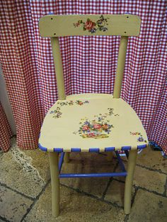Hand painted & decoupage wooden chair