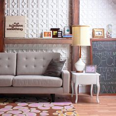 "couch and wall flats - $86 for 22.5 sq ft. Temp installation: We suggest installing the Wall Flats onto a separate rigid substrate first (examples: 1/8"" masonite, 1/8"" melamine, 1/4"" drywall or 1/4"" gatorboard, all   available in up to 4'x8' sheets). Then attach the larger substrate to your wall with a few screws and easily removable."