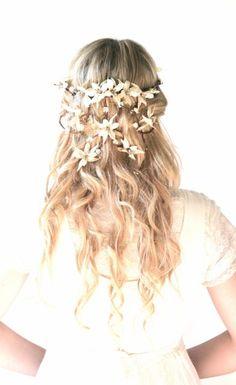 long wedding hair styles with a flower head wreath-2