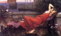 """Ariadne, 1898,  by John William Waterhouse, b. 1849 Rome, d. 1917 London, Magic Pre-Raphaelite circle. Ariadne """"most holy"""", was the daughter of Minos, King of Crete and his queen Pasiphaë, daughter of Helios, the Sun-titan, and the immortal wife of the wine-god Dionysos."""