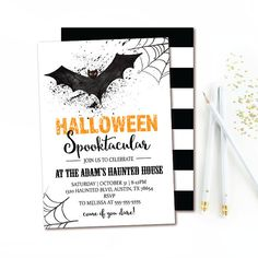 Let's help celebrate a spooktacular party with this Bat Halloween Invitation featuring spooky spider webs and black white stripes. This printable invitation is a quick and affordable way to have stunning invites.
