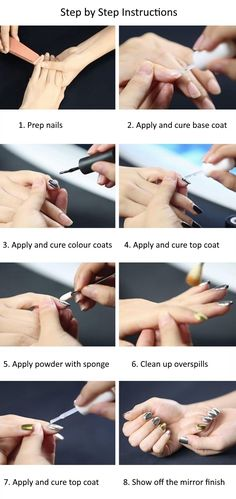 How to apply magic mirror effect nail powder