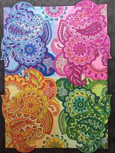 Mehndi Designs Creative Haven Book, Dover Publishing Prismacolor Markers and NuPastels Colored by Jan Adult Coloring Pages, Coloring Books, Colouring, Dovers, Gel Pens, Prismacolor, Mehndi Designs, Color Patterns, Art Nouveau