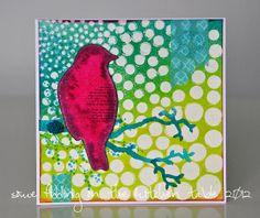"Birds, via Flickr.  Using the Balzer Designs ""Circle Explosion"" stencil"