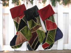 Stocking Antique Velvet Crazy Quilt by theCottageWorkroom on Etsy