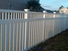 White Vinyl Semi-Privacy Fence With Spindle Top Accent - Zaun White Vinyl Fence, White Fence, White Garden Fence, Fence Landscaping, Backyard Fences, Fence Prices, Fence Sections, Fence Styles, Aluminum Fence