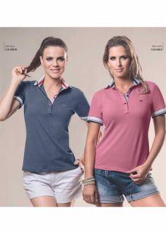 Polo Shirt Girl, Polo Shirt Outfits, Polo Shirt Design, Polo Shirt Women, Camisa Polo, Polo Tees, Blazers, Summer Tops, Denim Shirt